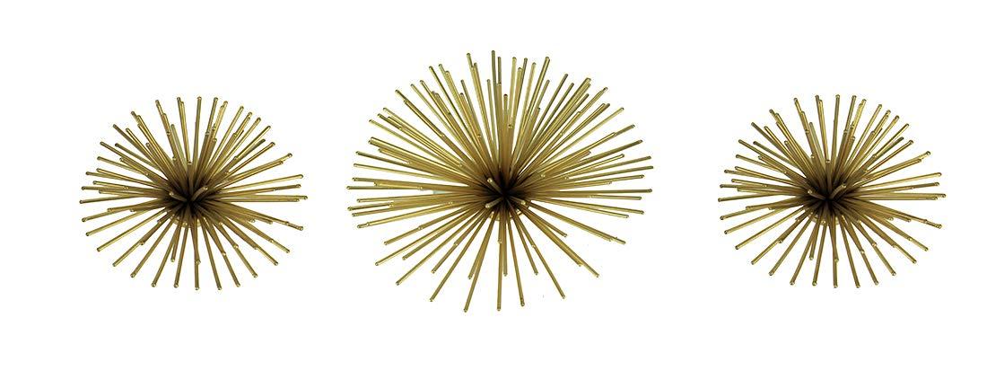 A&B Home Metallic Gold Metal 3D Bursting Star Wall Hanging Set of 3