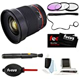Rokinon 16M-E 16mm f/2.0 Aspherical Wide Fixed Angle Lens for Sony E-Mount & Photo Accessories Bundle