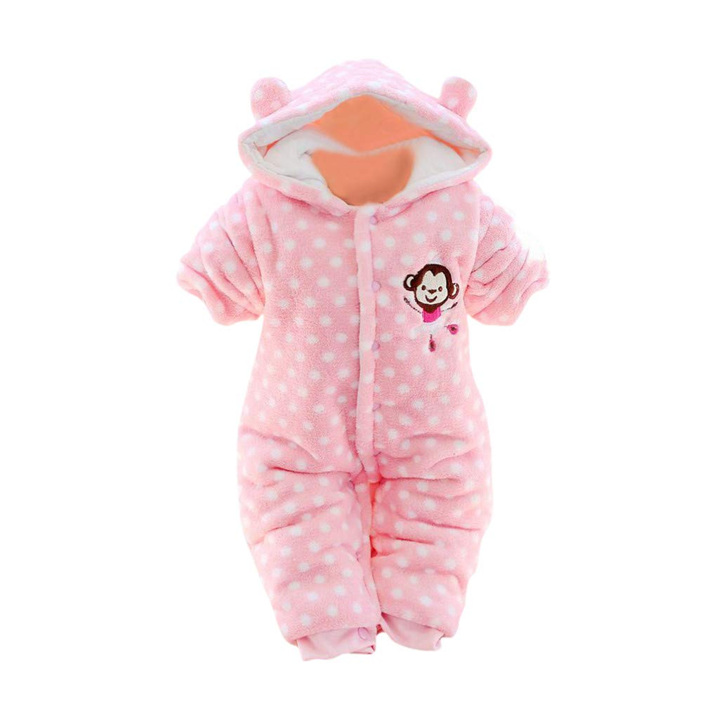 Newborn Infant Baby Boys Girls Winter Warm Fleece Hooded Romper Fashion Comfortable Print Jumpsuit Outfits 3M-12M (Pink, 3-6 Months) by Huaze