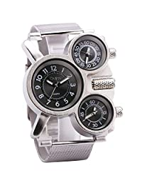OULM Men's Military Cool Sport Army Style Quartz Wristwatch Stainless-steel Strap 3 Time Zones Dials Display Oversize Case + Box