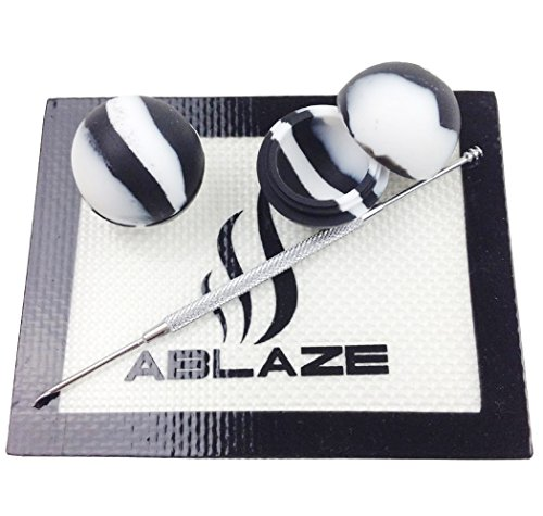 ABLAZE Black Dab Nonstick Non Stick Oil Wax Silicone Mat Pad Container Jar Tool Kit 5ML