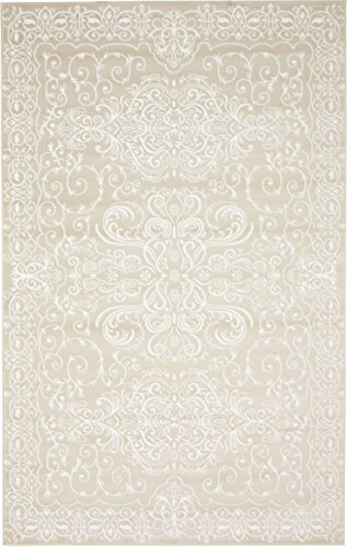 Modern Vintage Inspired Area Rugs Snow White 5' x 8' FT Himalaya Collection Rug - Rugs for Living Room - Rugs for Dining Room & Bedroom - Floor Carpet (Textured White Rug)