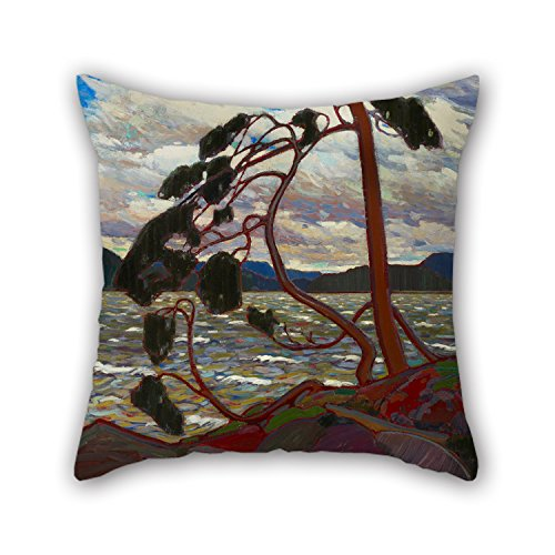 TonyLegner Throw Pillow Case of Oil Painting Tom Thomson - The West Wind for Home Office Bar Boy Friend Car Kitchen Bench 18 X 18 Inches / 45 by 45 cm(Twice Sides) (Striped Stools Zebra Bar)