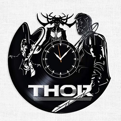 - Thor Vinyl Record Clock - Thor Ragnarok Wall Clock - Best Gift for Fans Thor - Original Wall Home Decor (A)