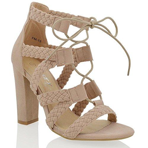 ESSEX GLAM Gamuza Sintética Zapatos de antelina con tacón alto cuadrado y tiras Desnudo Gamuza Sintética