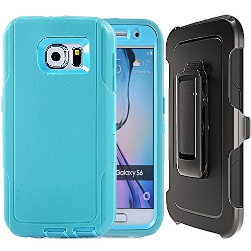 Samsung Galaxy S6 Case,OTRON Defender Black Swivel Belt Clip Holster Armor Protective Heavy Duty Silicone Plastic Cover With Screen Protector For Samsung Galaxy S6 (IBlue T)