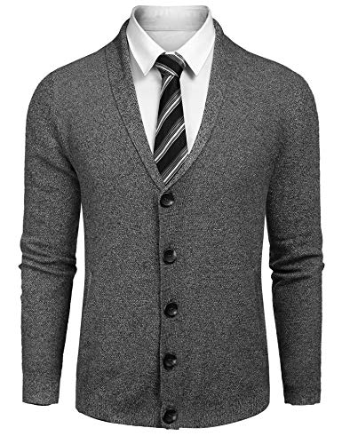 JINIDU Men's Long Sleeve Shawl Collar Cardigan Sweater Slim Fit Casual Button Down Knitted Cardigan ()
