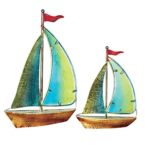 Piece Sailboat Textured Glass Decorations