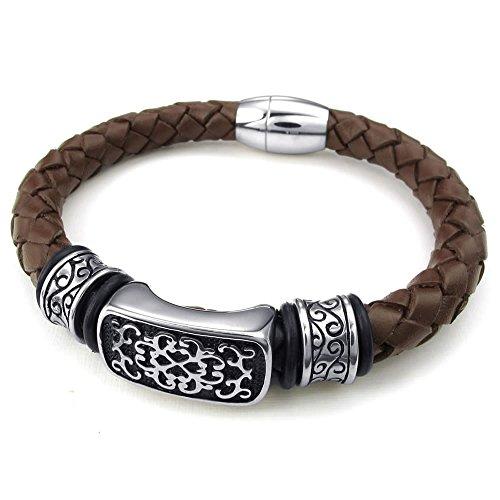 KONOV Leather Stainless Bracelet Magnetic