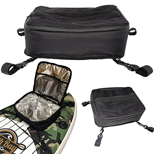 - SBBC - ISUP Cooler - || Paddle Board Cooler || - SUP Deck Cooler Bag + 4 Securing Clips + Mesh Storage Top Pocket | Holds 10 Cans + ICE | Fits Most Paddle Boards