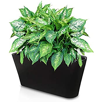 Ergo Self Watering Planter Pot Indoors Outdoors Planters Box Modern Black Rectangular Plant