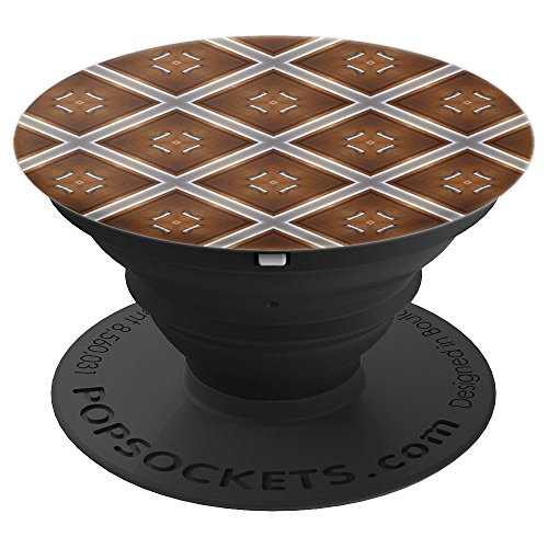 Kaleidoscope Pattern Mandala Burst Diamond Caramel Brown - PopSockets Grip and Stand for Phones and Tablets
