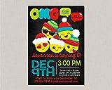 Olga212Patrick Emoji Invitations Emoji Birthday Invitation Christmas Birthday Invitation Christmas Emoji Birthday Invitation Teen Tween Chalkboard