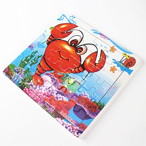 Meshion Wooden Jigsaw Puzzles With Storage Tray Ocean Set Kids Toys Preschool Learning Game For 3-5 Years Old Child,Boys,Girls,Pack Of 6(Mermaid,Octopus,Shark,Starfish,Dolphin,Lobster) by Meshion (Image #5)