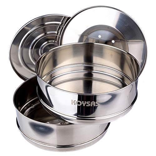 Stackable Steamer Insert Pans for Instant Pot - Safety Handle Sling – Fits 6, 8 Qt - Stainless Steel Food Grade Stacking Pots for Pressure Cooker & Pot in Pot Accessories – Two Interchangeable Lids by KOYSAS (Image #7)