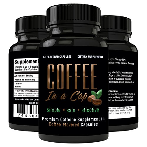 Natural Caffeine Supplement (200mg) + Inositol B-Vitamin (100mg) | Anti Doze Formula w/ No Crash