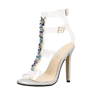 d6f849ffd Amazon.com  Sexy Women High-Heeled Sandals Bohemia Gladiator Diamonds Wedding  Bridal Shoes Heels Sandals for Women Girls Sexy  Clothing