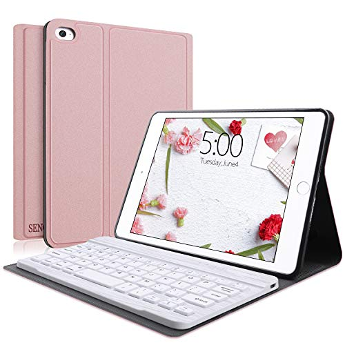 Keyboard Case Compatible with iPad Mini 5/4/3/2/1, SENGBIRCH iPad Mini Case with Keyboard Removable Wireless Connect, Soft Rubber PU Case (Rose Gold,Mini)