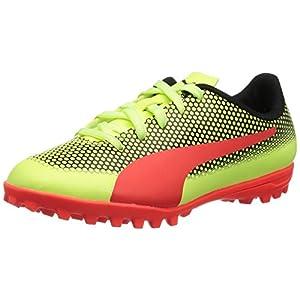 PUMA Unisex-Kids Spirit Turf Trainer Soccer-Shoes, Fizzy Yellow-Red Blast Black, 2 M US Little Kid
