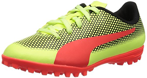 PUMA Unisex-Kids Spirit Turf Trainer Soccer-Shoes, Fizzy Yellow-Red Blast Black, 12.5 M US Little Kid