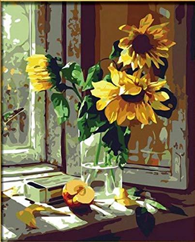 dorara DIY pintura al oleo para adultos ninos pintura por numero Kit Digital de pintura al oleo de girasol flores 16x 20pulgadas