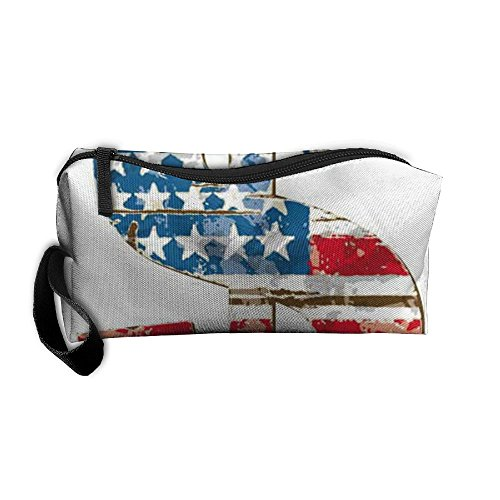 HOT American Flag Currency Symbol Picture. Fashion Canvas Travel Toiletry Organizer Bag Pencil Case Hanging Makeup Bag!