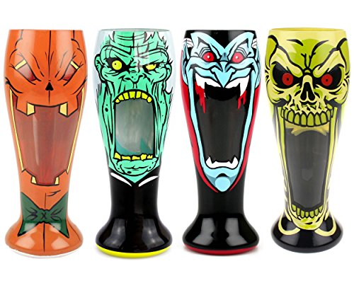 Scary Monster Beer Pilsner Jack O Lantern, Zombie, Dracula, Skeleton set of 4 Glasses ()