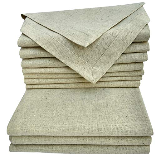 Cloth Dinner Napkins Set Of 12 Pieces, in Natural Rustic Color Flax By Flax (30% Linen,70% Cotton) Fabric with One Inch Decorative selvage & Mitered corner Finish offered by Linen Clubs.]()