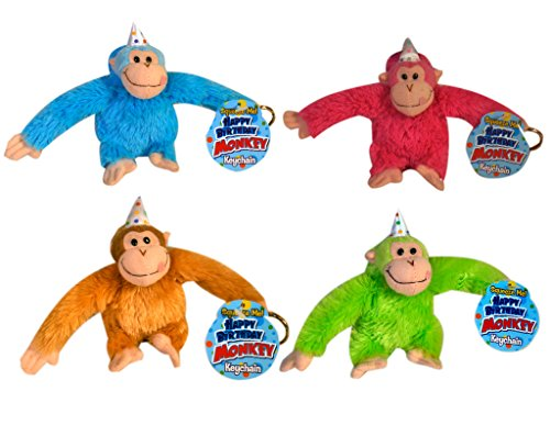 Just For Laughs Happy Birthday Monkey Keychain 4-Pack (Blue, Brown, Green, (Happy Monkey)
