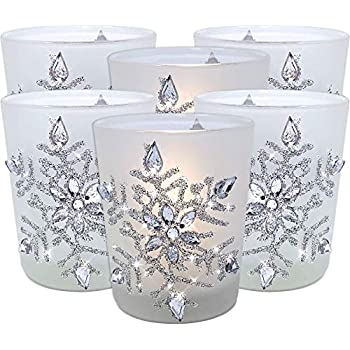 BANBERRY DESIGNS Snowflake Votive Candleholders with Flameless Flickering LED Candles Set of 6 Frosted Glass Glittery Snowflakes with Jewels - 2-3/4