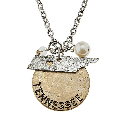 (PammyJ Two-Tone Tennessee State Charm Cluster Pendant Necklace, 16 inches + 2 inch ext.)