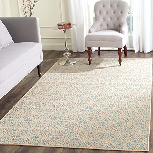 Safavieh Palm Beach Collection PAB511A Hand Woven Natural and Turquoise Jute Area Rug 3 x 5