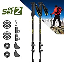 QSEKCH -Trekking Poles-Adjustable Hiking Walking Poles Anti-Shock Ultralight Walking Stick with Ergonomic Eva Foam Grip for Outdoor Walking Trekking Climbing 2-Pack