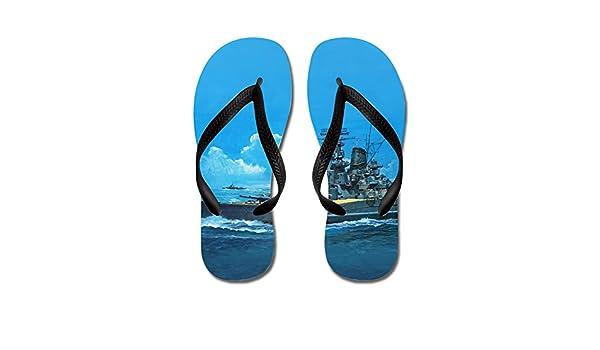 JKYUKO A Big Ship Sailing in The Blue Sea Blue flip Flops