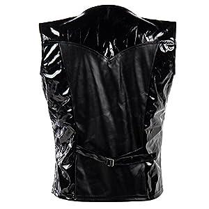 Bslingerie Mens Steampunk Faux Leather Cowboy Waist Coat Vest