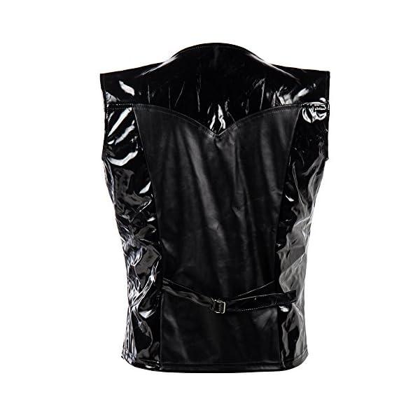 Bslingerie Mens Steampunk Faux Leather Cowboy Waist Coat Vest 4