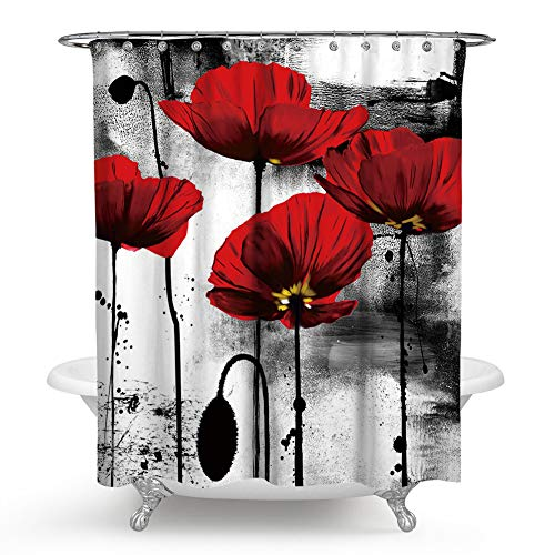 Chengsan Floral Shower Curtain Classic Decor, Flowers Chic Floral Picture Art Design, Polyester Fabric Shower Curtain, Black and White Red(CS-YL73) Black And White Flower Fabric