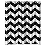 DOTZ Chevron Shower Curtain - Black and White Polyester Fabric - 70 inch x 70 inch, Includes 12 Plastic Shower Rings