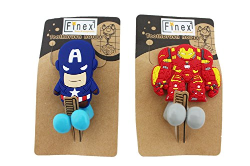 Finex® *Set Of 2* MARVEL AVENGERS Captain America U0026 Ironman Toothbrush  Holders With