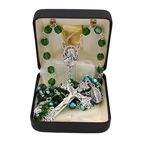 Bundle: 7mm Czech Fire Polished Bead Rosary with Organza Bag Emerald Green Color