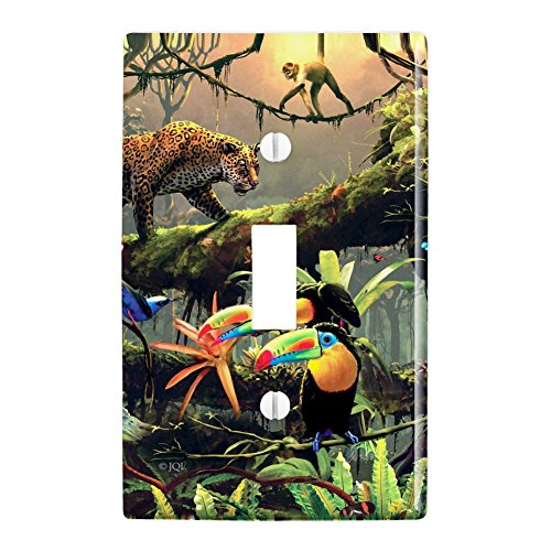 GRAPHICS & MORE Jungle Life Leopard Cat Toucans Monkeys Plastic Wall Decor Toggle Light Switch Plate Cover