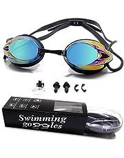 WHCREAT Schwimmbrille, Antibeschlag UV-Schutz Kein Auslaufen Spiegel Taucherbrille mit Verstellbare Nasenbrücke für Männer, Frauen und Kinder 10+
