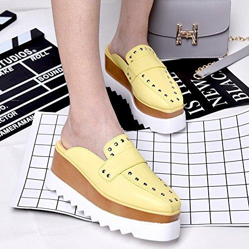 Fondo Heeled sandali nail scarpe Baotou quadrato pedale willow spesso ciabatte Yellow ciabattine Qingchunhuangtang High dIBYwdx