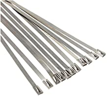 "SODIAL(R) 10Pcs 17.7"" Stainless Steel Locking Cable Ties For Exhaust Pipe Header Wrap Tape Silver"