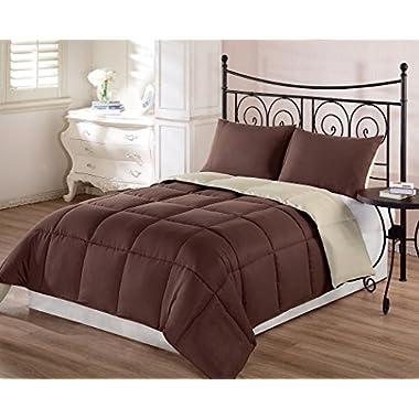 Chezmoi Collection 3-Piece Super Soft Goose Down Alternative Reversible Comforter Set, Queen/Full, Brown Tan