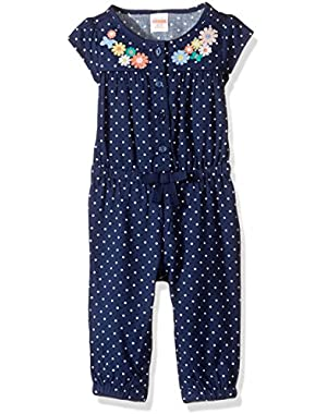 Baby Toddler Girls' Dot Romper with Floral Detail