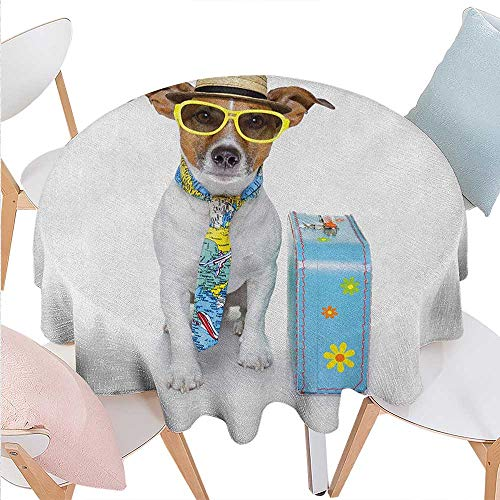 BlountDecor Dog Dinning Round Tabletop DecorTraveler Funny Dog Dressed as a Tourist with Hat Glasses Necktie and a Floral Suitcase Round Table Cover for Kitchen D36 Multicolor