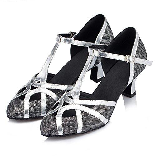 BYLE Sandalias de Cuero Tobillo Modern Jazz Samba Zapatos de Baile Zapatos de Baile Latino de Adultos de Verano Correa América Zapatos Zapatos de Baile Negro Onecolor
