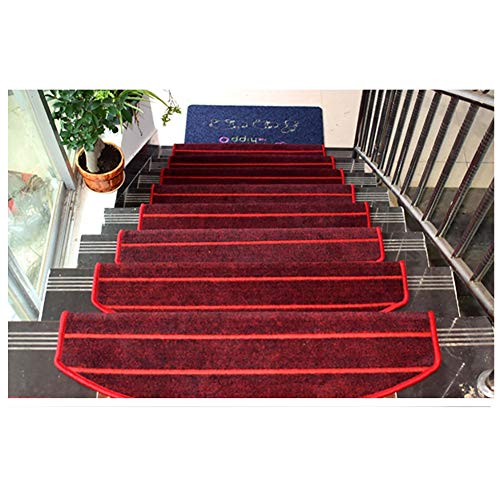 Anti-Skid Stairway Natural Area Rugs, Red Household Stair Mat, Glue Free Self Adhesive Stair Treads Area Rugs (Color : Set of 7, Size : 90x24x3cm)