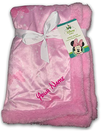 ized Minnie Mouse Bow Constellation and Stars Pink Luxury Mink Fleece Sherpa Blanket ()